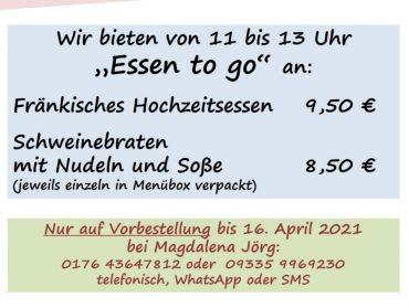 """1. Mai – """"Mittagessen to go"""""""